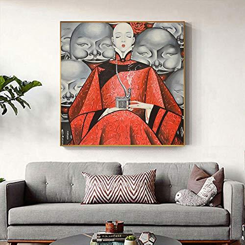 XuFan Leinwandmalerei HD-Druck Japanische Ostfrau Kunstplakate druckt Dekor für Wohnzimmer 30x30cm Kein Rahmen