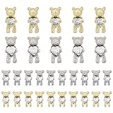 30 Pcs Nail Art Rhinestones,Shiny Alloy Bear 3D With Heart Crystal Nail Decoration,DIY Nail Art Decoration Accessories
