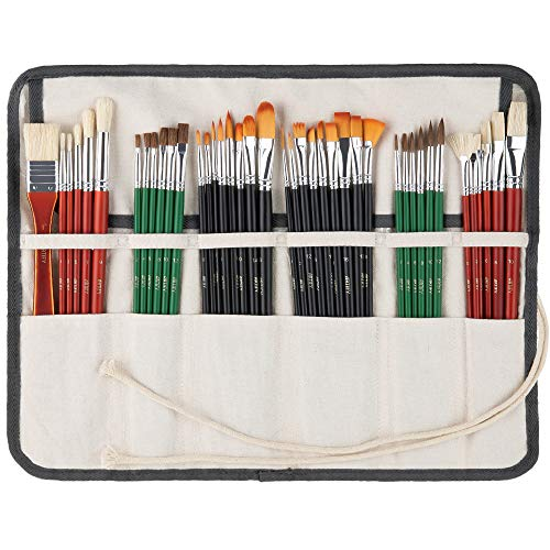 ARTIFY 41 Pcs Expert Series Long Handle Paint Brushes Art Set for Acrylic Oil Watercolor Gouache, a Kit of Hog Bristle Horse Hair Synthetic Nylon Hairs with a Carrying Canvas Roll Pouch