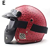 OLEEKA Casco de cuero artificial Cascos de chopper de motocicleta de cara abierta para adultos Casco de moto Moto Casco de motocross vintage