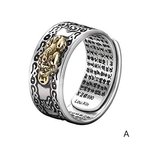 ZHANGJSechs Zeichen Damen Silber Ring Männer Feng Shui Amulett Glück Offen Einstellbaren Ring Buddhistischen Schmuck Geschenk, Resizable, A Men