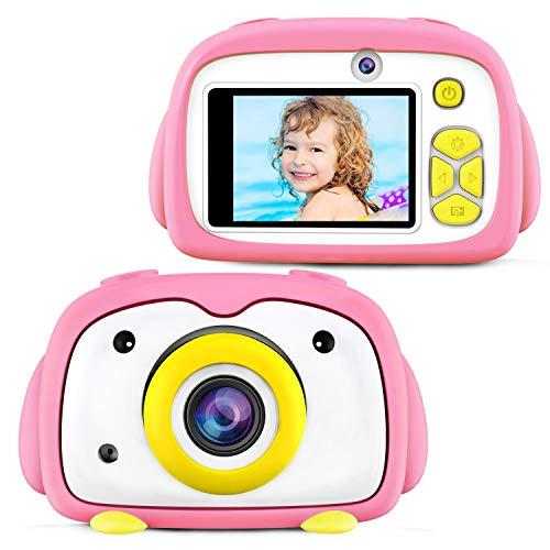 ShinePick Kamera Kinder, Selfie Funktion 1200 Megapixel HD 1080P 2,0 Zoll LCD Farbdisplay Aufladbar Fotoapparat Digitalkamera mit Foto & Video Rahmen Filter Speicherkarte Geschenk für Kinder (Rosa)