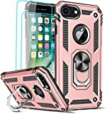 LeYi Funda para iPhone SE 2020 / iPhone 8 / iPhone 7 / iPhone 6 / 6S con [2-Unidades] Cristal Vidrio Templado Armor Carcasa con 360 Anillo Soporte PC y Silicona TPU Bumper Antigolpes Case, Rosa