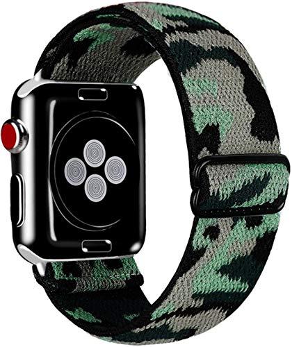 Elástico Solo Loop para Apple Watch Band 44mm 40mm 38mm 42mm Tela Nylon Correa elástica Pulsera para IWatch Series 3 4 5 Se 6 Correa-Army Blue, 42mm o 44mm