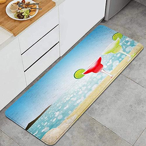 PANILUR Tappeto antiscivol,Margarita Season Cocktail Sunny Glass Sandy con la Natura della Conchiglia,da Usare Come zerbino o per Soggiorno, Camera da Letto, corridoio, Cucina