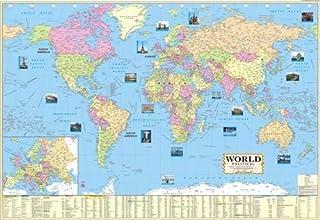 Mapa del mundo político laminado multicolor grande, 100 x 70 cm