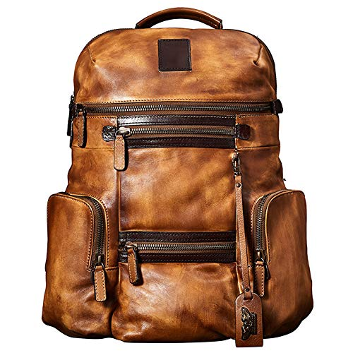 Travel Bags Backpack Large Capacity Luxury Mens Cow Leather Handbag Bag (Brown)