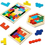 Sumind 3 Pieces Wooden Russian Blocks Puzzle Colorful Hexagon Puzzle with Storage Bag Jigsaw Brain Teasers Toy Blocks Game Geometry Logic Educational Toys for Teens and Adults