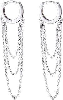 Long Tassel Chain Drop Dangle Small Hoop Earrings for Women Girls Men 925 Sterling Silver Huggie Helix Cartilage Tragus Da...