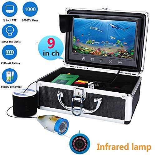 WANG Pesca Kit de la cámara de vídeo, 9' Pesca Pulgadas TFT 1000tvl Video Submarino Kit de la cámara IR 12 PC LED lámpara infrarroja de Luces de vídeo buscador de los Pescados,15M