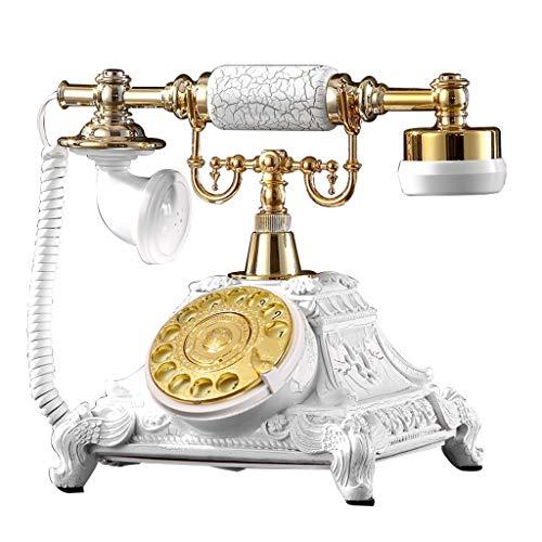 Telepho Festnetzanschluss, Retro-Stil Festnetztelefon mit klassischem Festnetztelefon und Drehknopfnummern, in verschiedenen Farben und Stilen erhältlich (Farbe : Gold-AA)