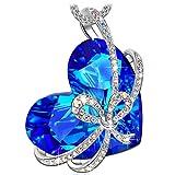 Qianse 'cuore dell' oceano papillon ciondolo collana realizzata con cristalli Swarovski, Lega, colore: Blue, cod. N4981