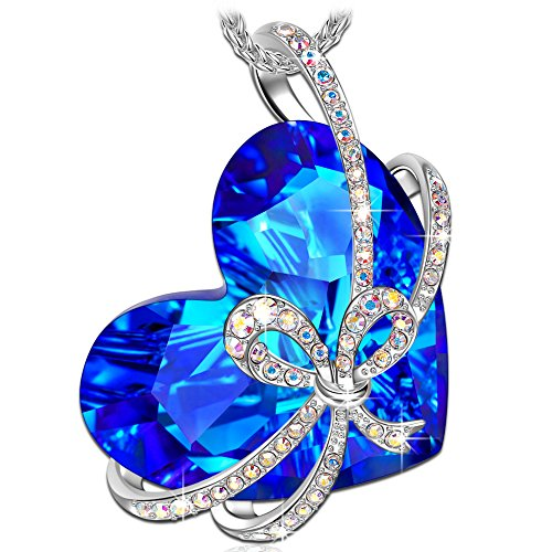 QIANSE Mother's Day Necklace Gifts Heart of Ocean Necklace Pendant Necklaces for Women Jewelry Gift for Birthday Girlfriend Wife Sapphire Crystal...