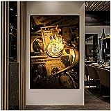 Bruciare Bitcoin Dollari Poster Arte Moderna Dipinti Su Tela Denaro Creativo Dollaro Decorazione Della Casa Immagine Della Parete Per Soggiorno-60x90 cm x1 Senza Cornice