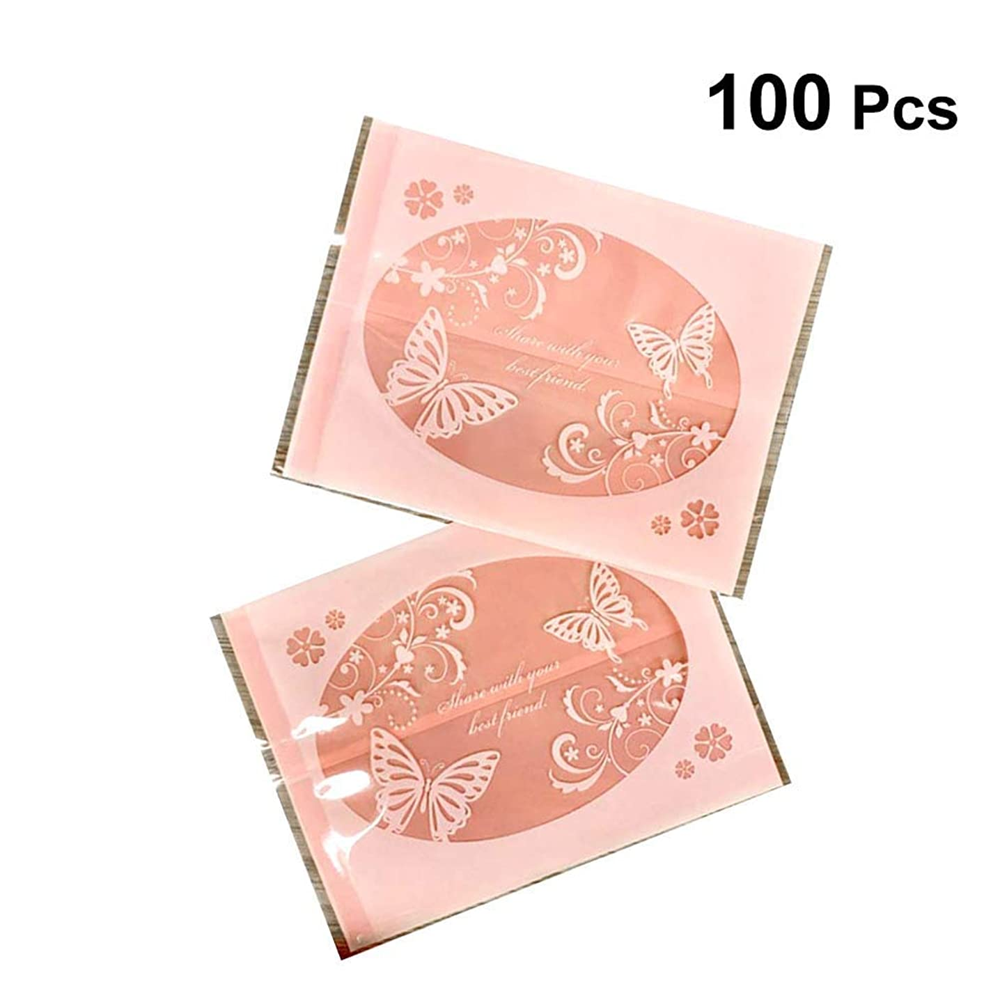 Toyvian Butterfly Pattern Treat Bag Nougat Cookies Pastry Dessert Bag Packing Bag Favor Bag Party Supplies 100pcs (Pink)