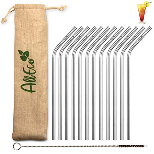 AllEco® Strohhalm wiederverwendbar Edelstahl 12er Set + Reinigungsbürste + Eco-Beutel - Premium-Qualität, umweltfreundlich, nachhaltig, wiederverwendbar & plastikfrei (12 gebogen)