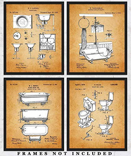 Vintage Bathroom Patent Wall Art Prints: Set of 4 Unframed 8x10 Pictures For Home, Office & Dorm Decor For Bathroom - Great Gift Idea Under $20