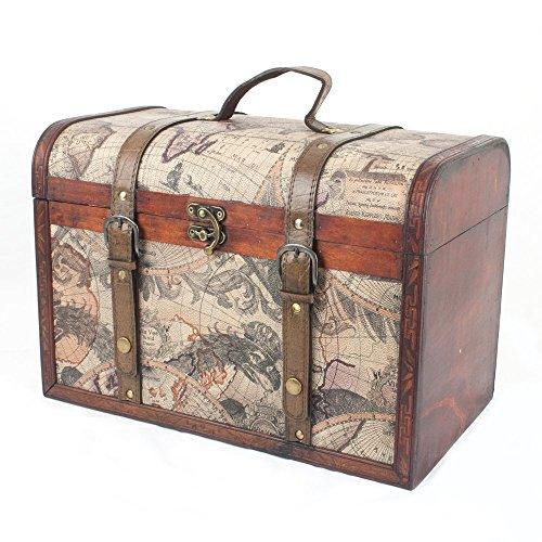 Baúl de almacenamiento estilo vintage de madera (con diseño único de mapa)...