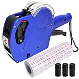 MX-5500 8 Digits Pricemaker Price tag Gun, Label Maker Pricing Gun Kit Numerical Tag Gun for Office, Retail Shop, Grocery Store, Include 5000 Sticker Labels & 2 Extra Ink Refill.(Blue)