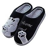 JACKSHIBO Damen Hausschuhe, Herren Winter Warme Pantoffeln Kuschelige Cartoon Cat Plüsch Hausschuhe Home Slippers