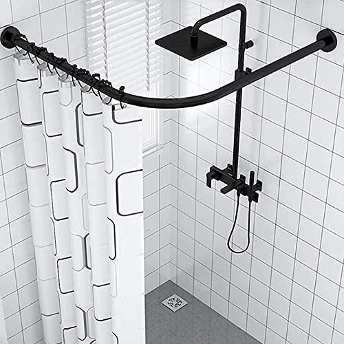 Barra de Cortina de Ducha Extensible en L de 304 Acero Inoxidable Barra Cortina Ducha Curva Esquina sin Taladro para Baño, Esquina, Ropero, Bañera, Negro
