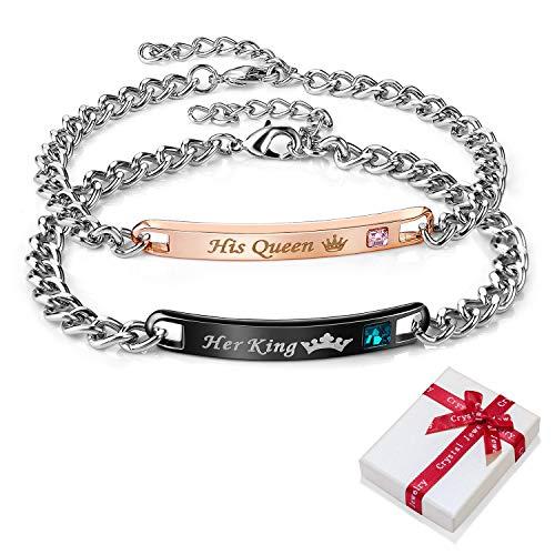 2 pezzi Bracciale queen king con incisione per coppia lui e lei coppie,oro rosa nero braccialetto braccialetti inciso amore gioielli uomo donna bracciali regalo per coppie partner amicizia regali BFF