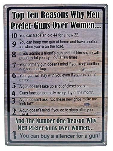 nobrand Tin Metal Sign Top Ten 10 Reasons Why Men Prefer Guns Over Women Funny 8x12 in