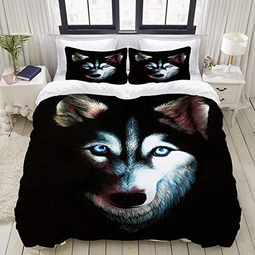 Duvet Cover,Husky Original Oil Painting on Black Velvet Dog with Blue Eyes,Bedding Set Ultra Comfy Lightweight Polyster Quilt Cover Sets