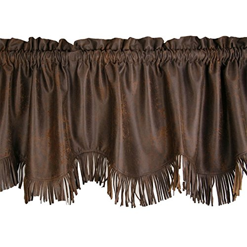"HiEnd Accents Western Faux Leather Window Curtain Valance w/Fringe, 18"" x 84"", Chocolate Brown"