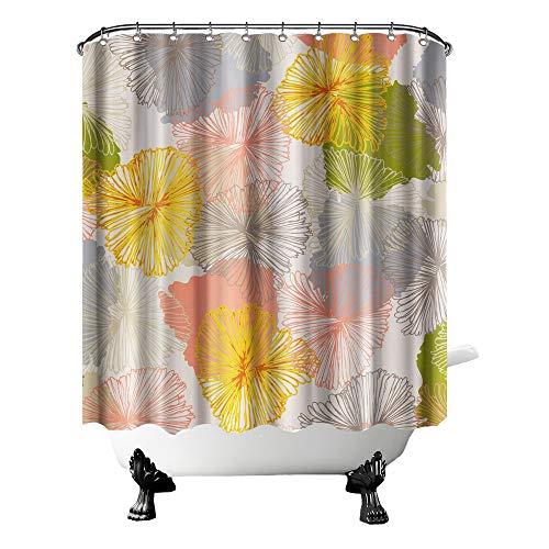 "OuElegent Flower Fabric Shower Curtain Abstract Floral Shower Curtain Yellow Gray Green Shower Curtain for Bathroom Decor Vivid Spring Garden Bath Curtain Waterproof Polyester with Hooks 72""x72"""