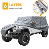 "Big Ant Car Cover for Wrangler CJ,YJ, TJ & JK 4 Door All Weather Protection Waterproof SUV Cover Customer Fit for Wrangler SUV with Driver Door Zipper Up to 190"" L,Gray"