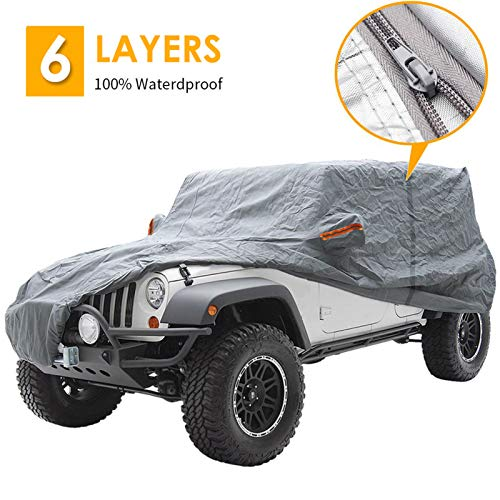 """Big Ant Car Cover for Wrangler CJ,YJ, TJ & JK 4 Door All Weather Protection Waterproof SUV Cover Customer Fit for Wrangler SUV with Driver Door Zipper Up to 190"""" L,Gray"""