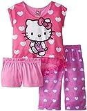 Hello Kitty Little Girls' All Over Hearts 3-Piece Pajama Set, Multi, 4