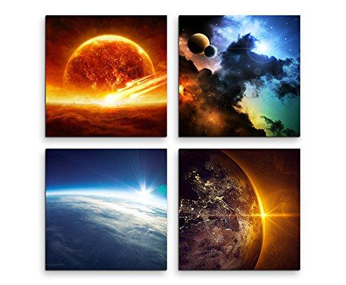 4 Bilder je 30x30cm Leinwandbilder Wasserfest Leinwanddruck Weltall Mars Universum Mond Erde