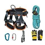 HMLIGHT Escalada al Aire Libre Escalada Descenso Aventura Equipo de Emergencia de Rescate Conjunto de Seguridad Descenso del Equipo Materiales Cuerda,10m