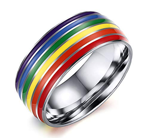 XUANPAI Gay Lesbian Pride Ring- Rainbow Anniversary Wedding Engagement Promise Band Rings Size T1/2 for Gay Couples