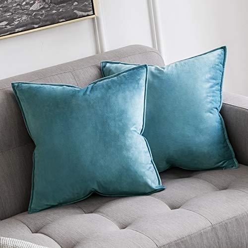 MIULEE 2er Set Samt Kissenbezug Flansch Kissenhülle Dekorative Dekokissen mit Verstecktem Reißverschluss Sofa Schlafzimmer 16 x 16 Inch 40 x 40 cm Hellblau