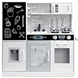 Best Choice Products Pretend Play Kitchen Wooden Toy Set for Kids with Realistic Design, Telephone, Utensils, Oven, Microwave, Sink - White