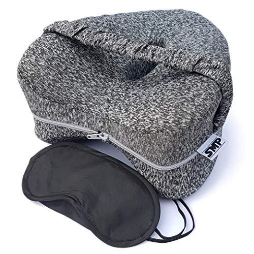 SMP® Orthopädisch Memory Foam Kniekissen mit Band NEUES Modell + Kostenlose Schlafmaske! Ergonomisches Beinkissen für Seitenschläfer im Bett, verhindert: Knie-, Hüft-, Rücken- Beschwerden/Schmerzen