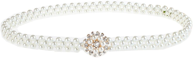 Stretch Belts for Women Pearl Rhinestone Spatart White Elastic Belt