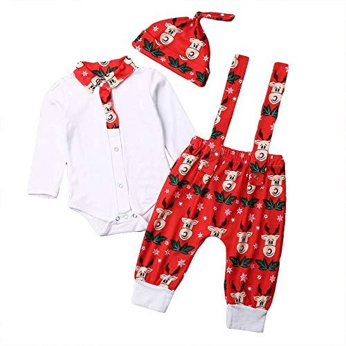 Completo di Natale per Neonati Unisex 3 Pezzi Maglietta a Maniche Lunghe Stampata di Babbo Natale + Pantaloni Lunghi + Cappello Casual Carino 0-18 Mesi (Alce Natale (3 Pezzi), 12-18 mesi)