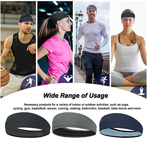 TAGVO 3Packs Sports Workout Headband for Men and Women, Non Slip Elastic Moisture Wicking Lightweight Soft Sweatbands for Sports/Yoga/Pilates/Dancing/Running/Cycling/Fitness Exercise/Travel