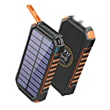 Hiluckey Solar Charger 26800mAh, Wireless Portable Charger 18W PD USB C Power Bank with 4 Outputs and LED Flashlight, Fast...