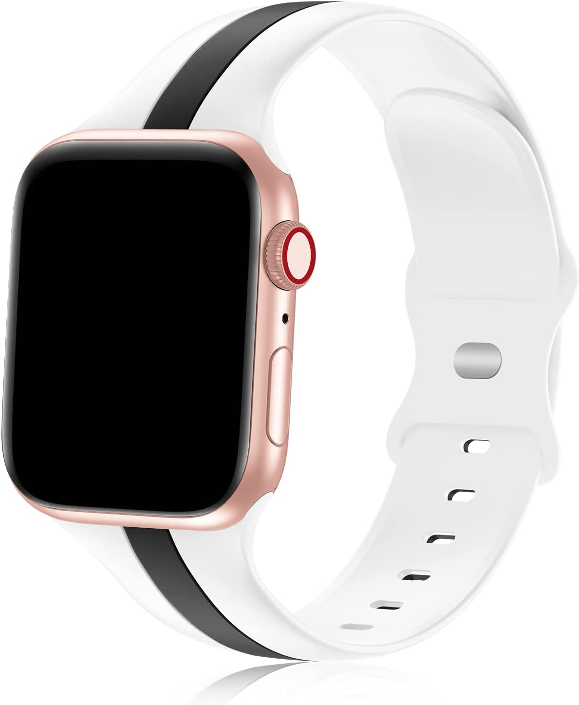 iWabcertoo Designer Sport Bands Compatible with Apple Watch Bands 42mm 44mm 45mm Women and Men,Soft Silicone Replacement Strap Bands for iWatch Series 7 6 5 4 3 2 1 SE Black White