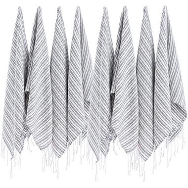 (SET of 8) Turkish Cotton Hand Face Head Guest Gym Towel Set Peshtemal Washcloth Kitchen Tea Towel Dish Cloth Set (Grey2)