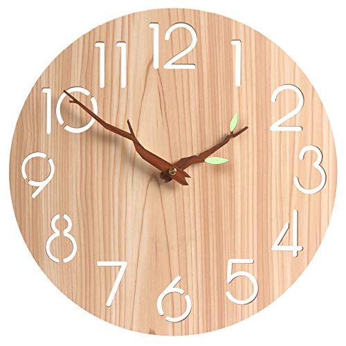 "12"" Silent & Non-Ticking Vintage Wooden Round Wall Clock Numerals Vintage Rustic Tuscan Style Wooden Round Home Decor Wall Clock,Battery Operated(419)"