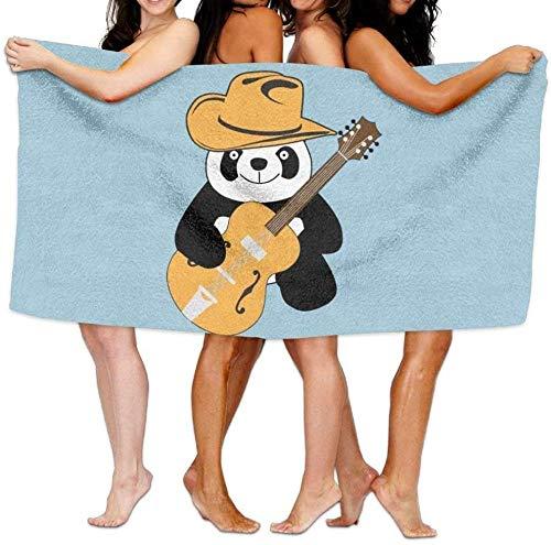 BAOYUAN0Toalla de Playa Piscina de Dibujos Animados Divertido Panda Guitarra Toalla de baño de Microfibra súper Absorbente 80 * 130 cm H323
