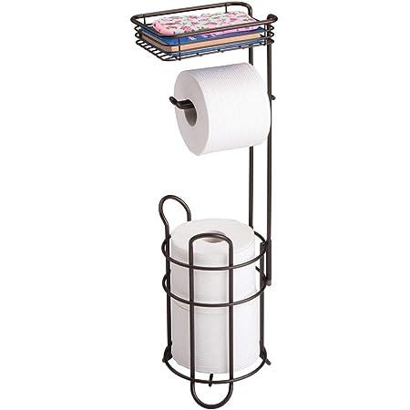 mattwei/ß und mattsilberfarben Klorollenhalter f/ürs Badezimmer Papierrollenhalter freistehend mDesign Toilettenpapierhalter