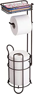 mDesign Portarrollos de Papel higiénico con Estante – Elegante dispensador de Papel higiénico de Metal – Porta Rollos de p...