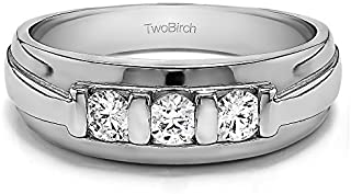 TwoBirch Sterling Silver Bar Set Men's Wedding Ring With Cubic Zirconia(0.24Ct, Size 9)